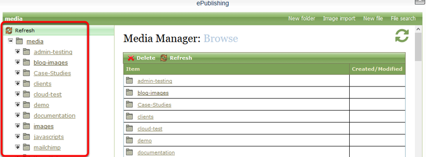 Within the Media Manager, click on the specific directory or sub-directory in which you want to place the video file.