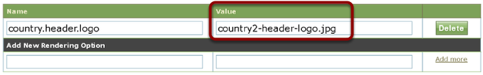 Identify the header. This could be include the word header, or may be called a banner image. Copy the name under Value.