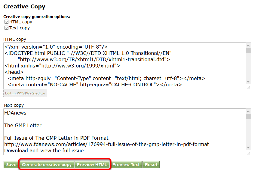 Click Generate creative copy, and then Preview HTML.