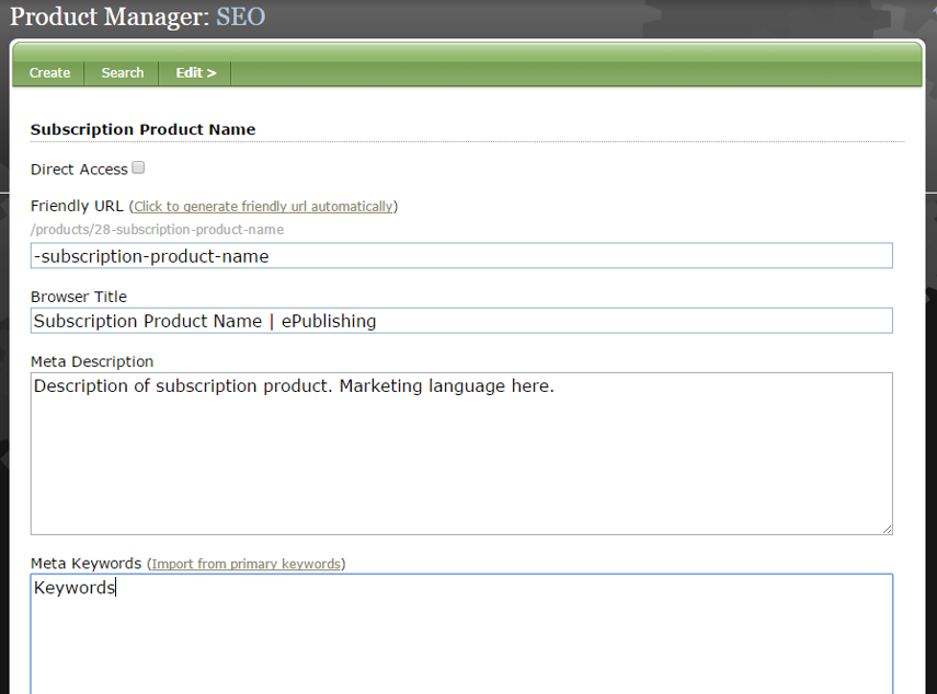 If desired, update the URL, Browser Title and Meta Description. You may also want to import or update the keywords.