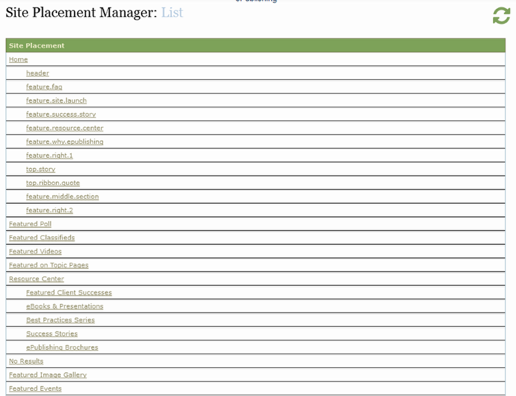 After clicking List & Edit, the Site Placement Manager will open.