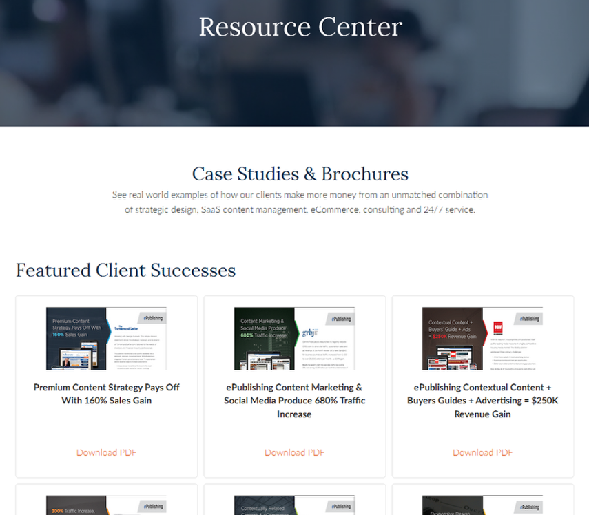 Here's the content associated with that taxonomy, as shown on the website under Featured Client Successes.