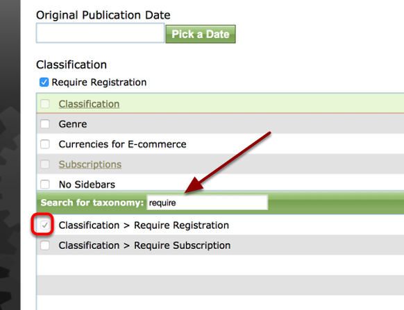 If you wish to just collect basic reader data only (name, company, contact information), use the Require Registration taxonomy in either the Article Manager (shown below) or the Media Manager.