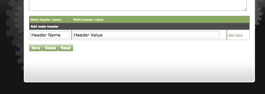 Scroll to the bottom of the page to the Meta Header Name / Value.