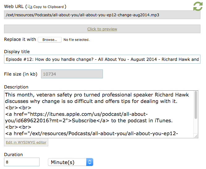Update the audio file record with relevant podcast episode information.