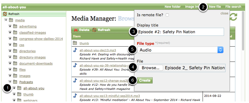 Choose the directory or sub-directory you wish to upload the new podcast episode into