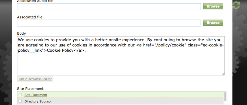 Update the text to reflect your message and the link to the published Page Manager page with the cookie policy.