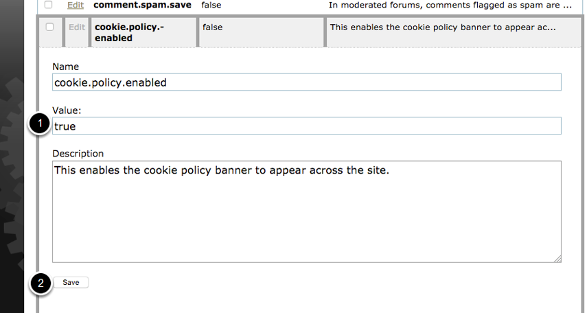 Flip system setting of cookie.policy.enabled to true.