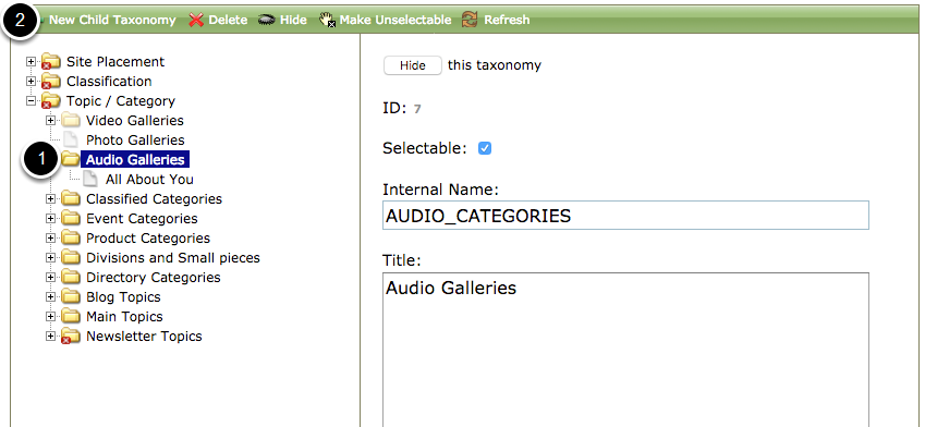 To add a new topic or category, select the folder in which you want the new topic to appear and then New Child Taxonomy (2).