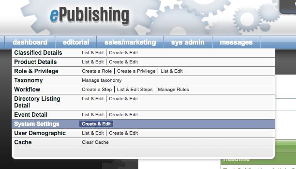 Go to Admin > sys admin > System Settings > Create & Edit.