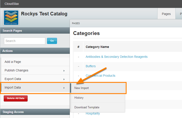 On the pages tab, select Import Data > New Import