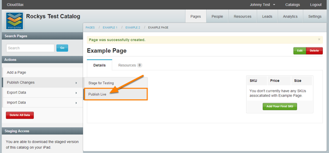 Review the Page and select Publish Live
