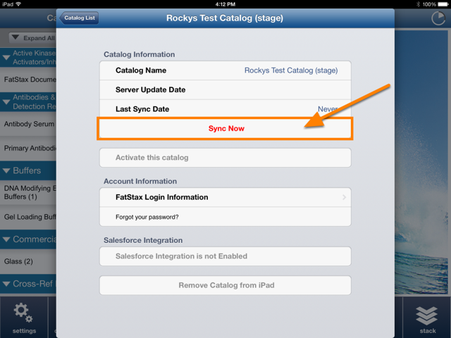 Tap on the Stage catalog and tap Sync Now to download.