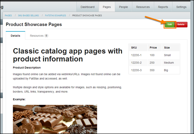 1. Clicking Edit on an existing Page to open the Edit Form. You can add a new item page and add SKUs to the field form.