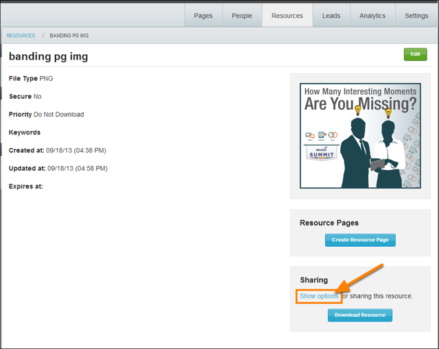 """4. Navigate to the Resource information page, and select the """"Show options"""" link under Sharing"""
