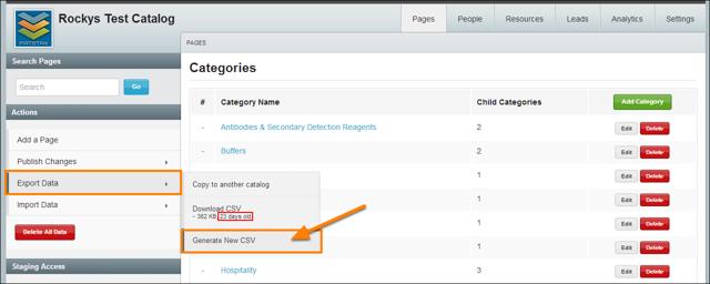 Select Export Data > Generate New CSV