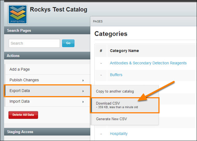 Select Export Data > Download CSV
