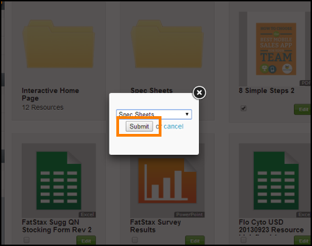Select the Folder you want to move the Resource/s to and select Submit
