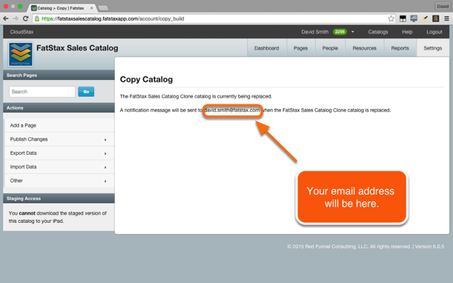 Please wait while the server copies and replaces the destination catalog with the source catalog content.
