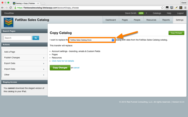 Select the destination catalog from the the dropdown list that you want to copy content to