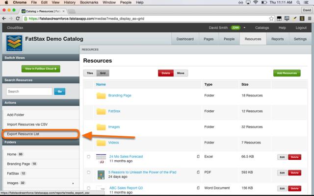 Select Export Resource List.