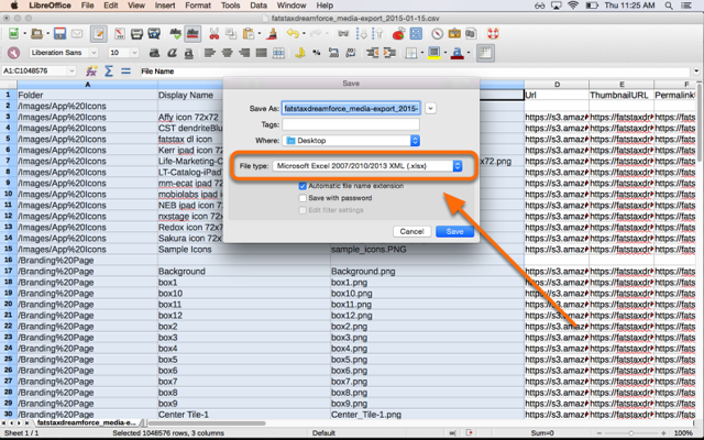 Save the file as a Microsoft Excel 2007/2010/2013 XML (.xlsx) file and open it in Excel.
