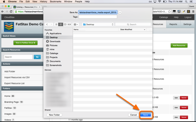 Select a location to save the exported CSV file.