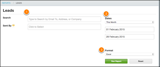 Select your filters, date range, and export format