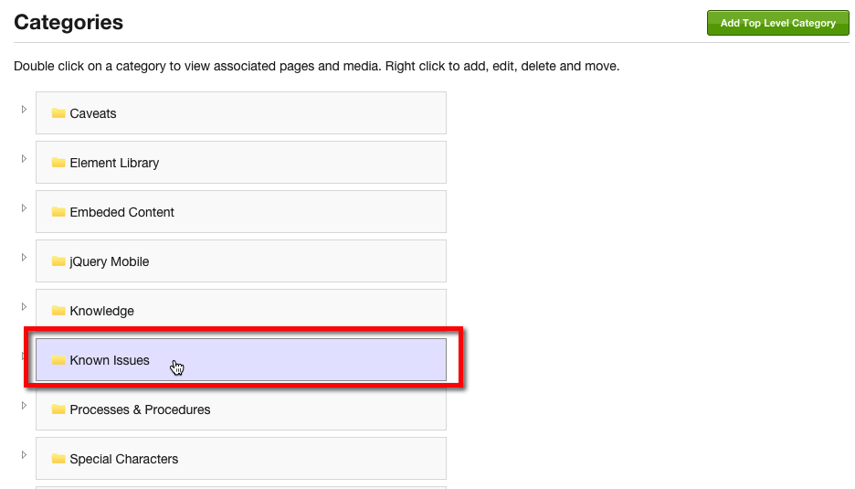 Click on a Category to drag and drop a new sort order