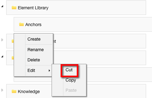 Cut - cuts the Category or Subcategory to be moved to a different location