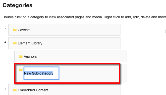 Allows the name of the Category or Subcategory to be modified