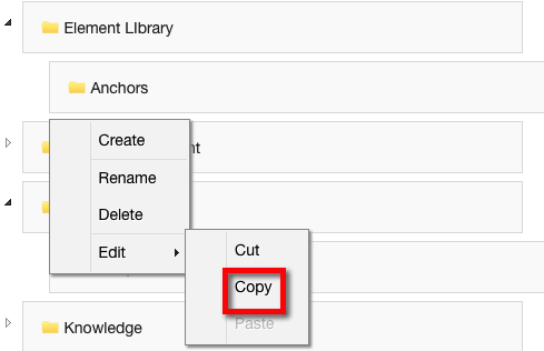 Copy - copies any Category or Subcategory and related pages