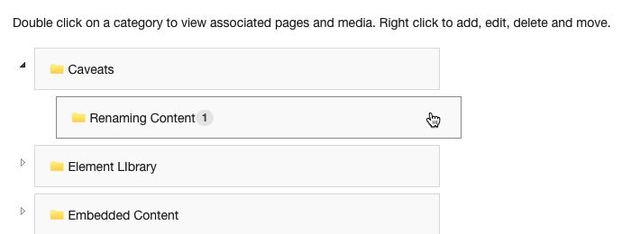 When the Category is expanded to show Subcategories, double click on any Subcategory to view pages