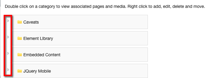 Click the arrow associated to the Category to view Subcategories