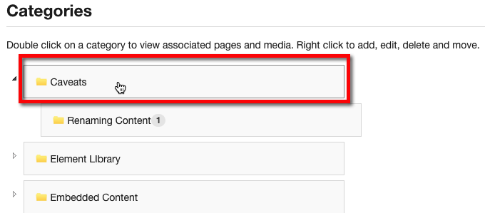 Double click on any Category to view Subcategories