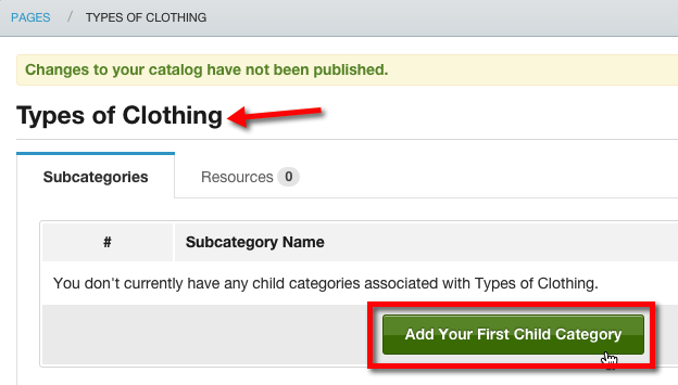 """Click """"Add your First Child Category"""""""