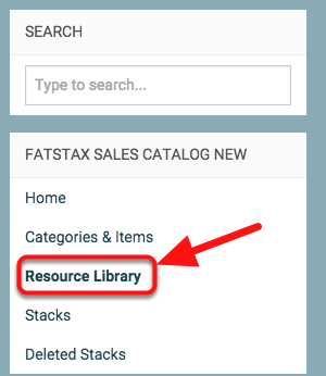 "Click on ""Resource Library"" on the left panel"