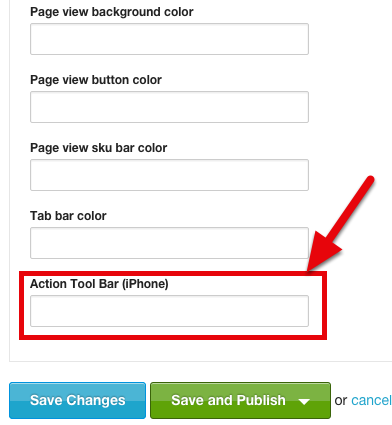 """Scroll down to the """"Action Tool Bar (iPhone)"""" field"""