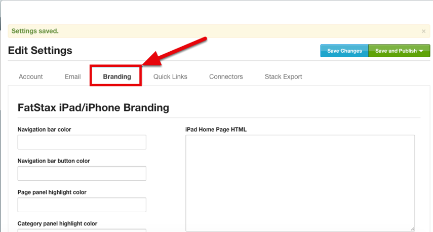"""Within Settings - navigate to the """"Branding"""" tab"""