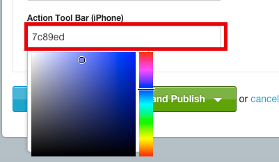 Click within the text field to display the color pallet