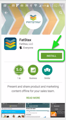 """Search the Store for """"FatStax"""" and download the free App."""