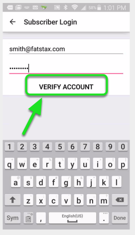 "Input your username and password and tap ""Verify Account"""