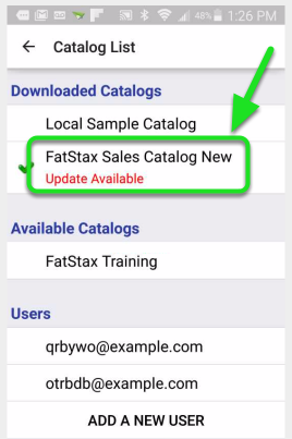 "Tap on the name of the Catalog within the ""Downloaded Catalogs"" section"