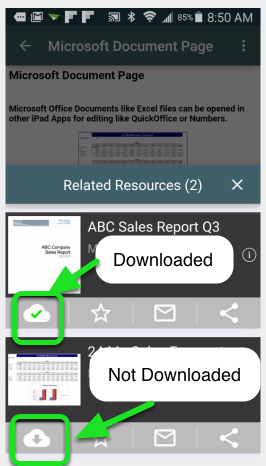 Tap the Cloud-available icon (Cloud image with a down arrow).