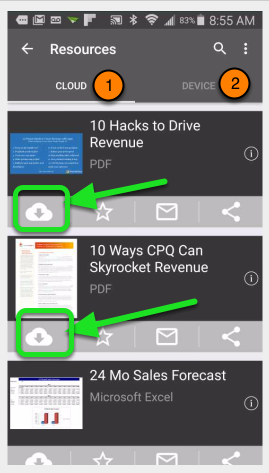 Navigate to the Resource Cards you want to select. Tap on the cloud with a down arrow to download individual Resources