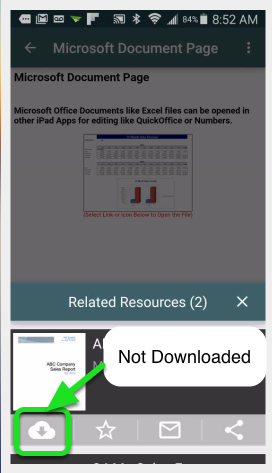 Tap on a Resource that has not been downloaded