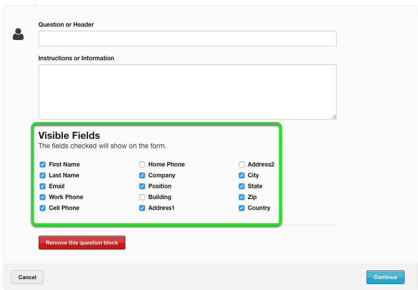 Uncheck the box for the fields you do not wish to be shown