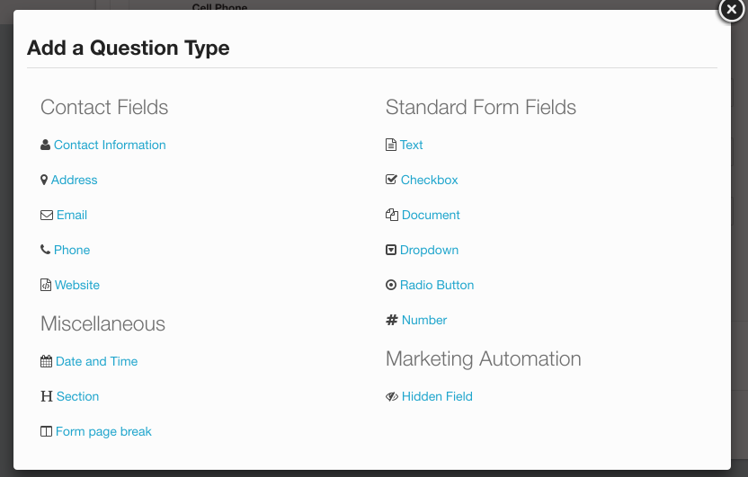 Select your desired question type