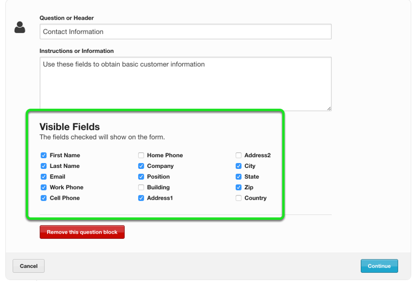 Select which fields you would like displayed by unchecking fields you do not wish to show