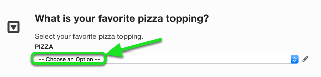 Placeholder Text adds text that goes inside the dropdown before an answer is selected